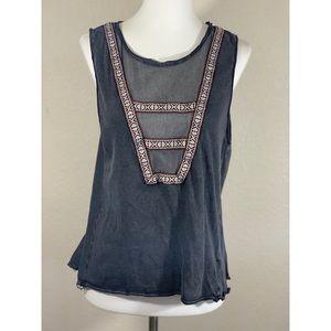 Ecote Gray w Mesh & Embroidery Detail Tank Top